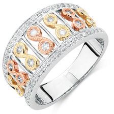 Online Exclusive - Ring with 1/3 Carat TW of Diamonds in 10kt Yellow, White & Rose Gold