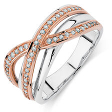 Ring with 1/4 Carat TW of Diamonds in 10ct Rose Gold & Sterling Silver