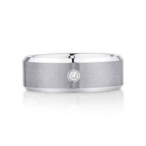 Men's Diamond Set Ring in Grey Tungsten