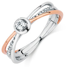 Promise Ring with 1/8 Carat TW of Diamonds in 10kt White & Rose Gold
