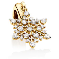 Snowflake Dangle Charm with 1/4 Carat TW of Diamonds in 10ct Yellow Gold