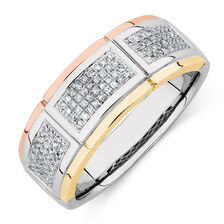 Men's Ring with 0.33 Carat TW of Diamonds in 10kt Yellow, White & Rose Gold