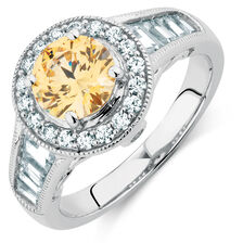 Ring with Yellow & White Cubic Zirconias in Sterling Silver