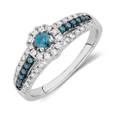 Engagement Ring with 0.63 Carat TW of White & Enhanced Blue Diamonds in 14kt White Gold