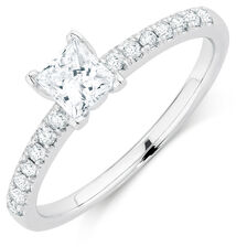 Evermore Colorless Engagement Ring with 0.62 Carat TW of Diamonds in Platinum