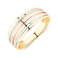 Patterned Tri-Tone Ring in 10ct Yellow, White & Rose Gold