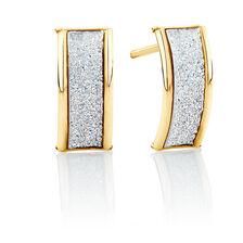 Glitter Band Stud Earrings in 10kt Yellow Gold