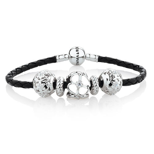 Starter Charm Bracelet with White Enamel, Cubic Zirconia & Black Leather in Sterling Silver