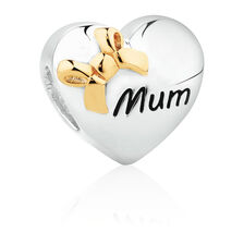 Mum' Heart Charm with Bow in Sterling Silver & 10ct Yellow Gold