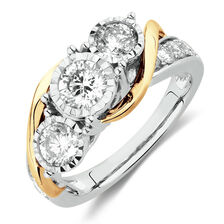 Three Stone Engagement Ring with 1 1/2 Carat TW of Diamonds in 14kt White & Yellow Gold