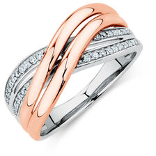 Crossover Ring with 0.15 Carat TW of Diamonds in 10ct Rose Gold & Sterling Silver