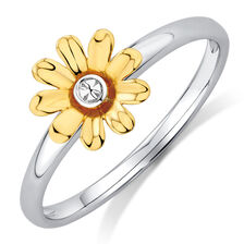 Sunflower Stack Ring in 10ct Yellow & White Gold