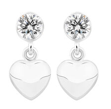 Heart Earrings with Cubic Zirconia in Sterling Silver