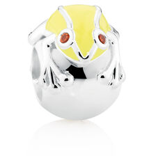 Red Cubic Zirconia, Yellow Enamel & Sterling Silver Frog Charm