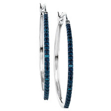 City Lights Hoop Earrings with 1/20 Carat TW of Enhanced Blue Diamonds in Sterling Silver