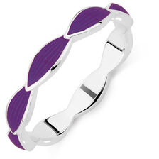 Online Exclusive - Sterling Silver & Purple Enamel Stack Ring