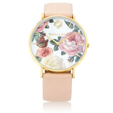 Gold Tone Stainless Steel Watch with Blush Leather