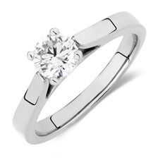 Certified Solitaire Engagement Ring with a 3/4 Carat Diamond in 14kt White Gold