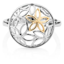 Flower Ring in 10ct Yellow Gold & Sterling Silver