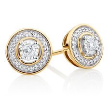 Stud Earrings with 0.15 Carat TW of Diamonds in 10ct Yellow Gold & Sterling Silver