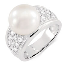 Ring with a Cultured Freshwater Pearl & Cubic Zirconias in Sterling Silver