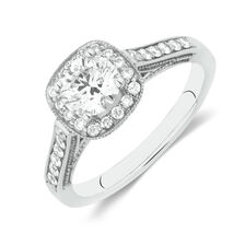 Halo Ring with 1 Carat TW of Diamonds in 14ct White Gold