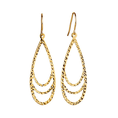 Teardrop Drop Earrings in 10ct Yellow Gold