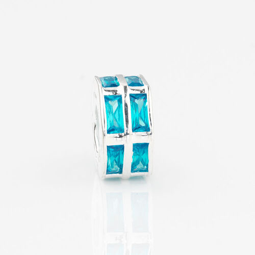 Online Exclusive - Hexagonal Charm with Blue Cubic Zirconia in Sterling Silver