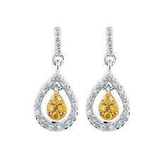 City Lights Drop Earrings with 0.18 Carat TW of Enhanced Yellow Diamonds in Sterling Silver
