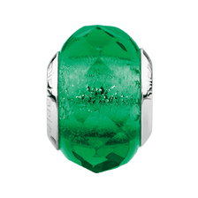 Green Faceted Glass Charm