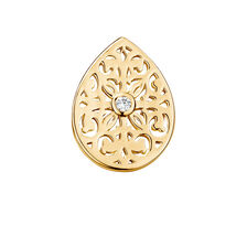Filigree Mini Coin Pendant Insert with Cubic Zirconia in 10ct Yellow Gold