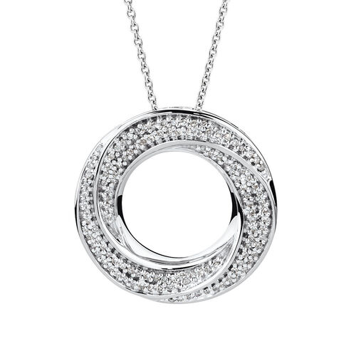 Twist Circle Pendant with 0.16 Carat TW of Diamonds in Sterling Silver