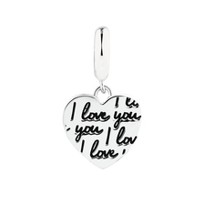 Online Exclusive - I Love You' Heart Dangle Charm in Sterling Silver