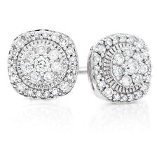 Cluster Stud Earrings with 1/3 Carat TW of Diamonds in 10kt White Gold