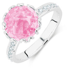 Pink & White Cubic Zirconia Stack Ring