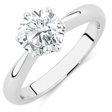 Evermore Certified Solitaire Engagement Ring with a 1 1/2 Carat Diamond in 18ct White Gold