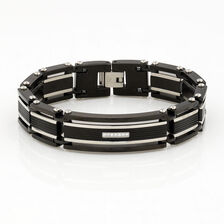 Men's Bracelet with Cubic Zirconia in Black PVD & Stainless Steel