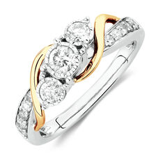 Three Stone Engagement Ring with 1/2 Carat TW of Diamonds in 14ct White & Yellow Gold