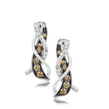 Le Vian Drop Earrings with 3/8 Carat TW of Chocolate & Vanilla Diamonds in 14kt White Gold