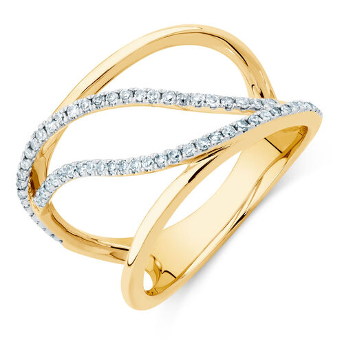 Geometric Ring with a 1/4 Carat TW of Diamonds in 10ct Yellow Gold