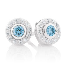 Aqua Cubic Zirconia & Sterling Silver Stud Earrings with Circle Enhancers