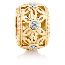 Diamond Set 10ct Yellow Gold Flower Charm