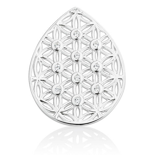 Flower Coin Pendant Insert with Cubic Zirconia in Sterling Silver