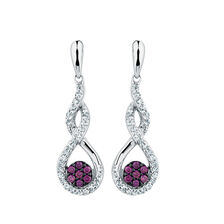 City Lights Drop Earrings with 1/4 Carat TW of White &  Enhanced Purple Diamonds in Sterling Silver