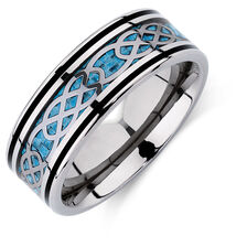 Men's Patterned Ring in Carbon Fibre & Titanium
