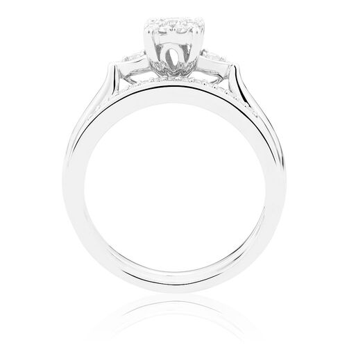 Bridal Set with 0 33 Carat TW of Diamonds in 10kt White Gold