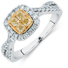 Engagement Ring with 3/4 Carat TW of White & Yellow Diamonds in 14ct White & Yellow Gold