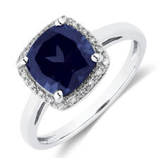 Ring with Created Sapphire & 1/20 Carat TW of Diamonds in 10kt White Gold