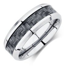 Men's Ring in Gray Carbon Fibre & Stainless Steel