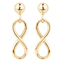 Infinity Drop Earrings in 10kt Yellow Gold